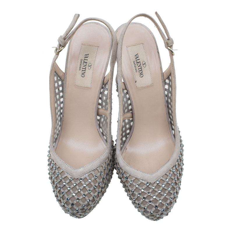 Valentino Beige Lattice Crystals Studded Slingback Platform Sandals Size 38