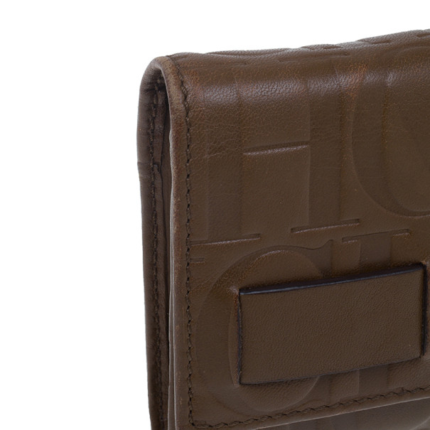 Carolina Herrera Brown Monogram Embossed Contential Flap Wallet