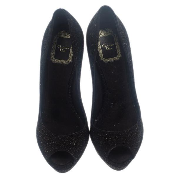 Dior Black Glitter Miss Dior Peep Toe Platform Pumps Size 36.5