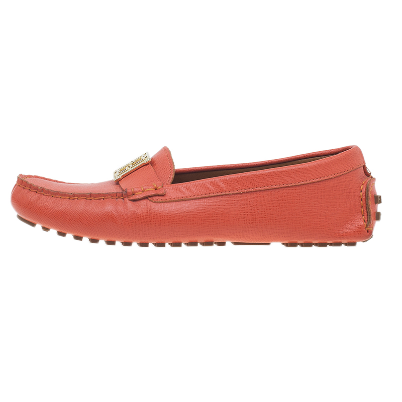 Fendi Red Leather Logo Loafers Size 38.5