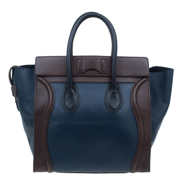 Celine Bi-Color Calfskin Leather Mini Luggage Tote Bag