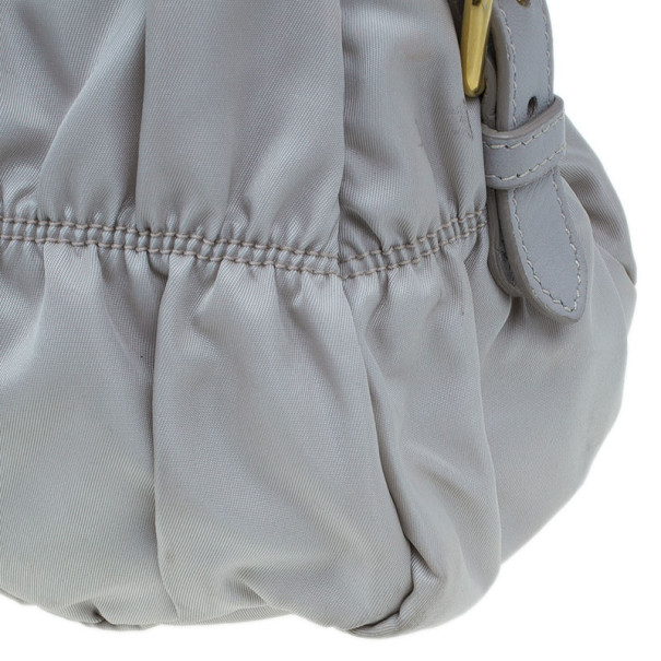 Prada Grey Nylon Medium Tessuto Gaufre Tote