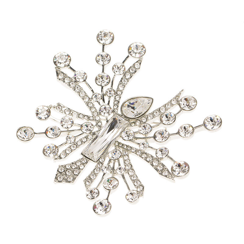 Oscar de la Renta Abstract Crystal Silver Tone Brooch