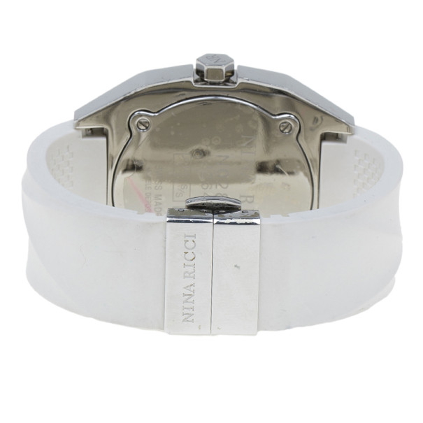 Nina Ricci White & Silver Stainless Steel Star Women's Wristwatch 40MM