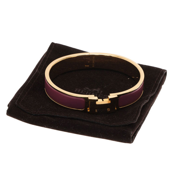 Hermes Clic Clac H Purple Enamel Gold Plated Bracelet PM