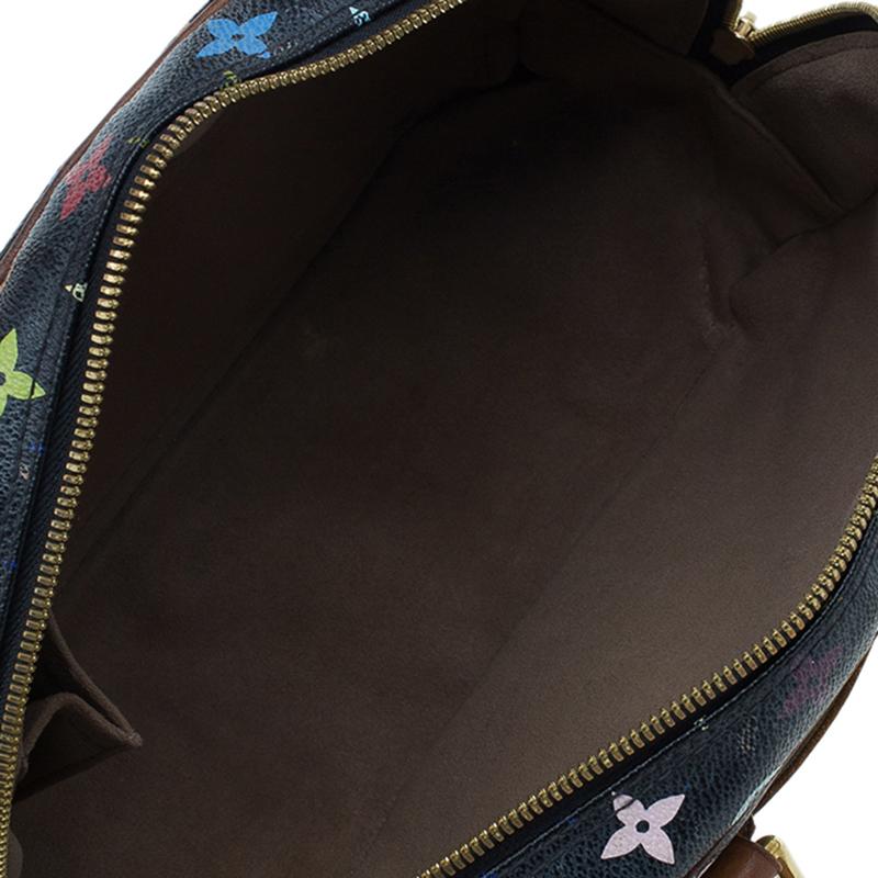 Louis Vuitton Black Multicolour Monogram Deauville Boston Bag