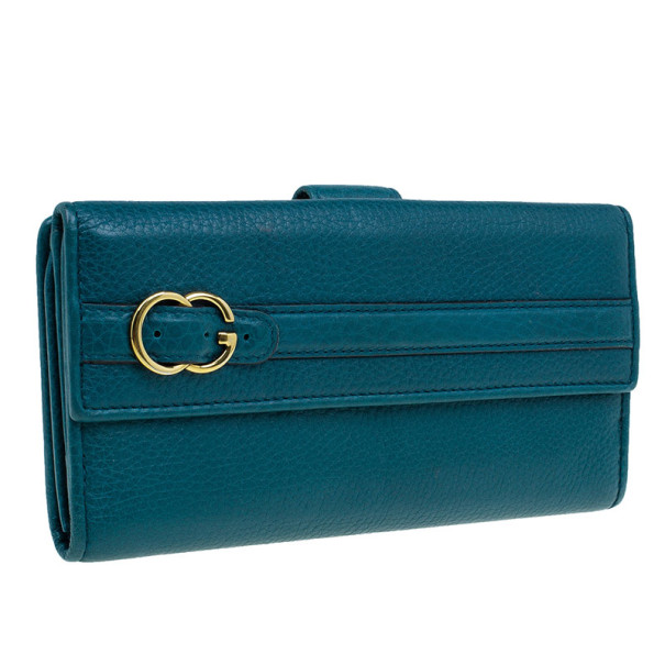 Gucci Blue Leather Belt Motif Continental Wallet