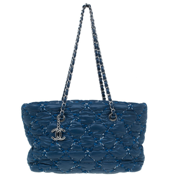Chanel Blue Quilted Tweed Stitched Nylon Small Bubble Shoulder Bag