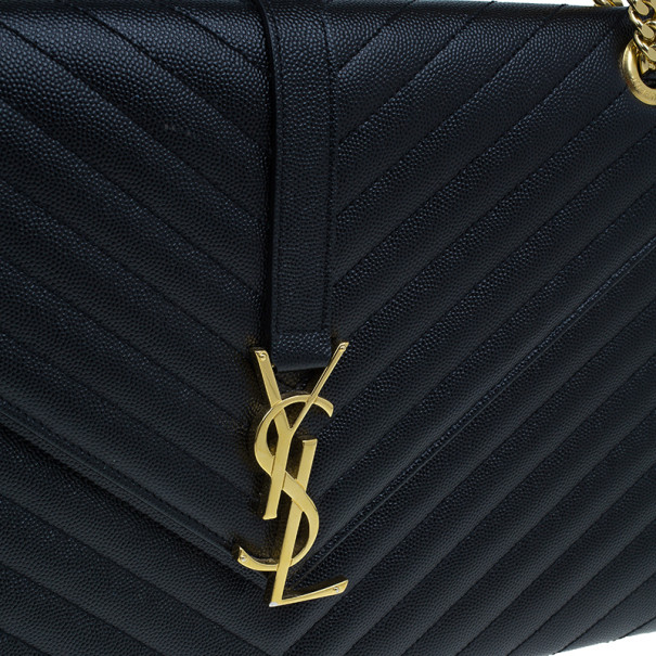 Saint Laurent Black Leather Large Chevron Cassandre Shoulder Bag