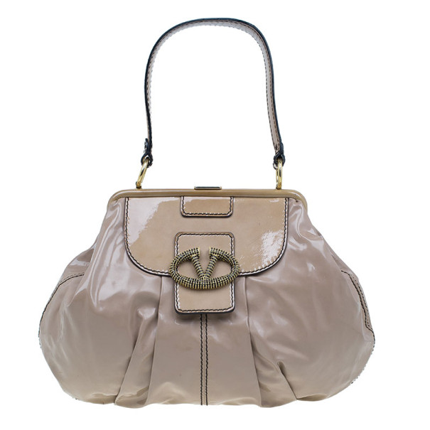 Valentino Beige Patent Leather Small Frame Hobo