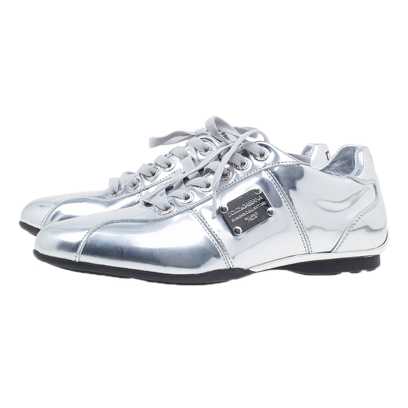 Dolce and Gabbana Silver Metallic Leather Limited Edition Sneakers Size 40.5