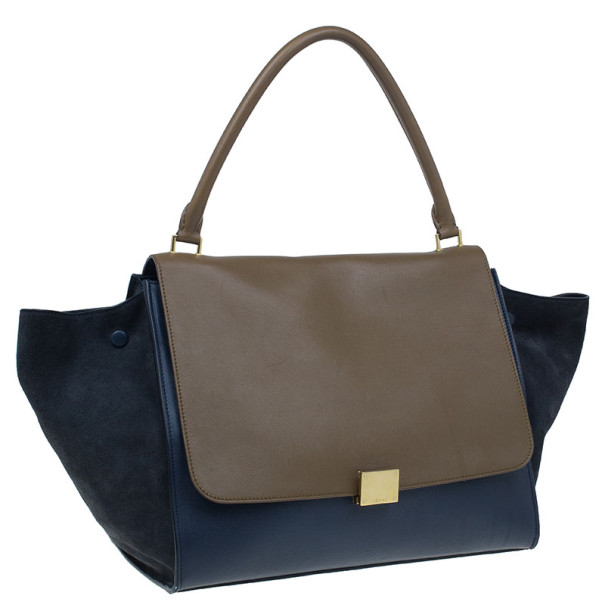 Celine Blue Calfskin Large Trapeze Bag