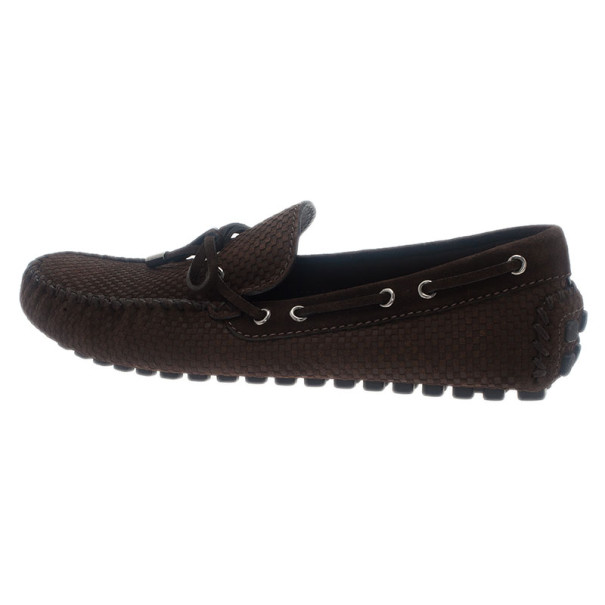 Louis Vuitton Brown Petit Damier Suede Navajo Loafers Size 42