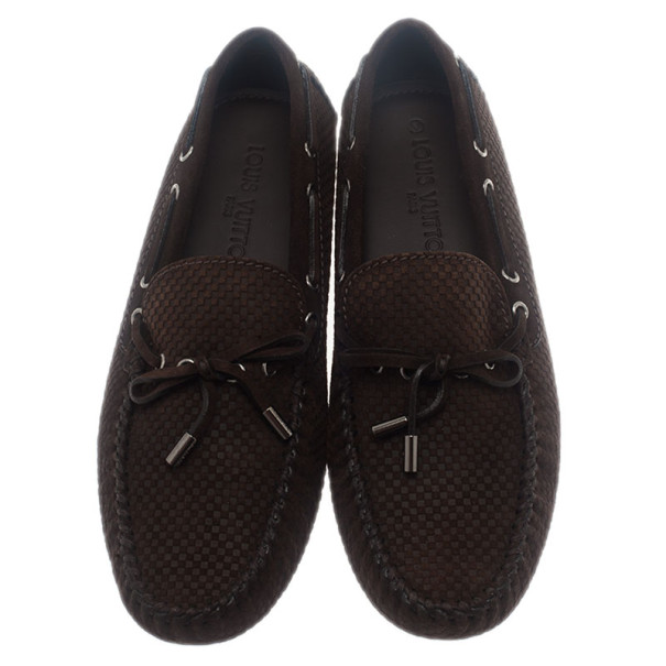 Louis Vuitton Brown Petit Damier Suede Navajo Loafers Size 42