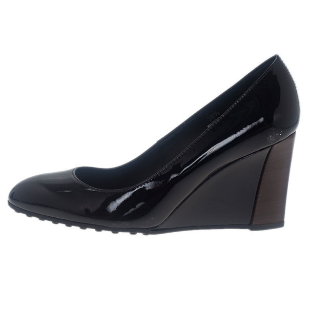 Tod's Black Patent Wedges Pumps Size 38.5