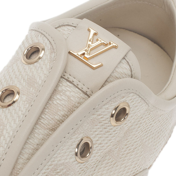Louis Vuitton White Monogram Canvas Espadrilles Sneakers Size 38.5