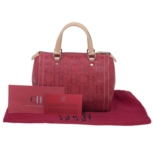 Carolina Herrera Red Leather Andy Boston Bag