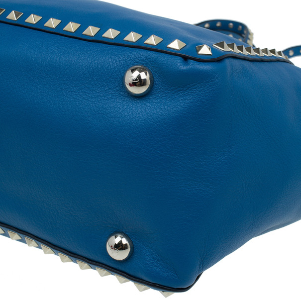 Valentino Blue Leather Rockstud Trapeze Bag