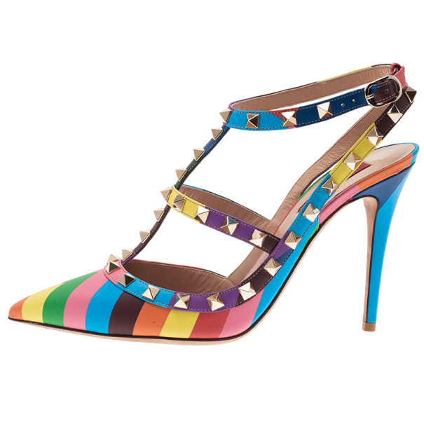Valentino Multicolor Striped Limited Edition Rockstud Sandals Size 39
