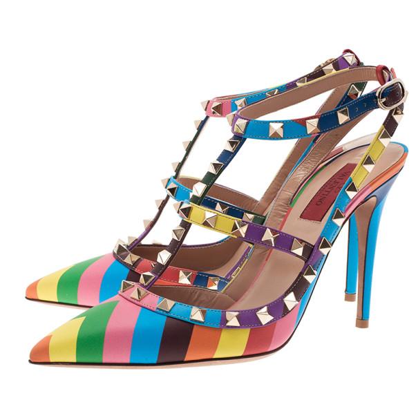 Valentino Multicolor Striped Limited Edition Rockstud Sandals Size 39