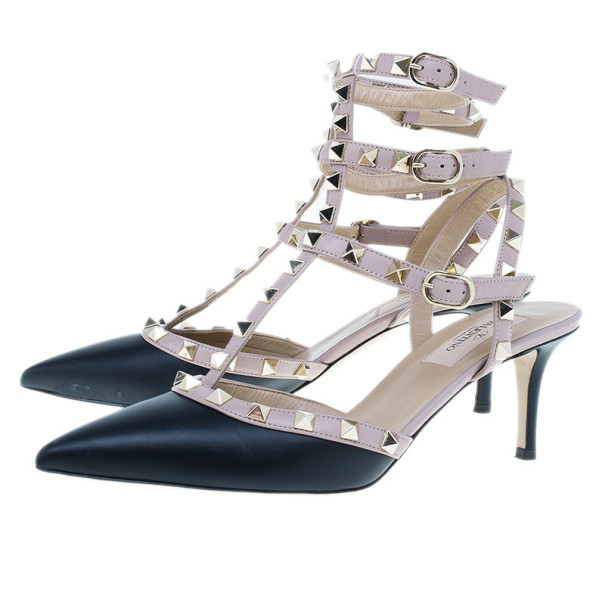 Valentino Black and Beige Leather Rockstud Ankle Strap Sandals Size 38