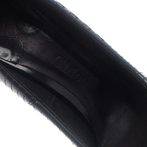 Chloe Black Patent Stitched Pumps Size 39