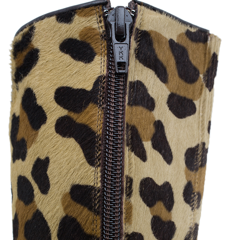 Christian Louboutin Leopard Pony Hair Fifi Botta Knee Boots Size 37