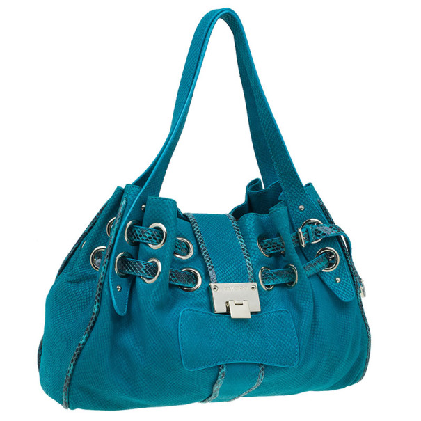 Jimmy Choo Turquoise Snake-Embossed Riki Shopper