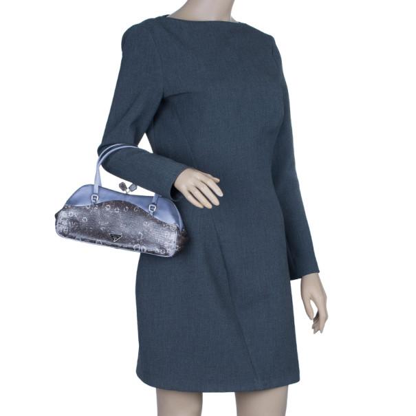 Prada Mauve Lizard Satin Small Handle Bag