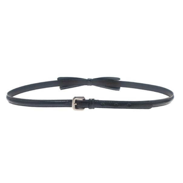 Prada Black Patent Bow Waist Belt 75CM