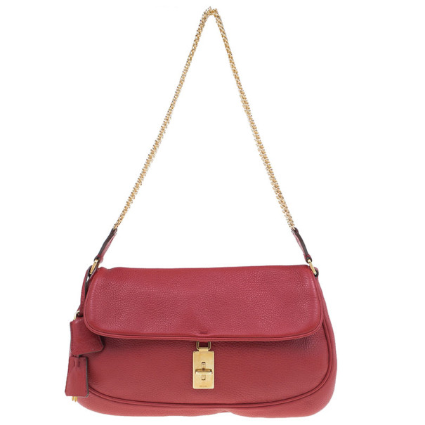 Prada Red Calfskin Small Daino Trend Shoulder bag