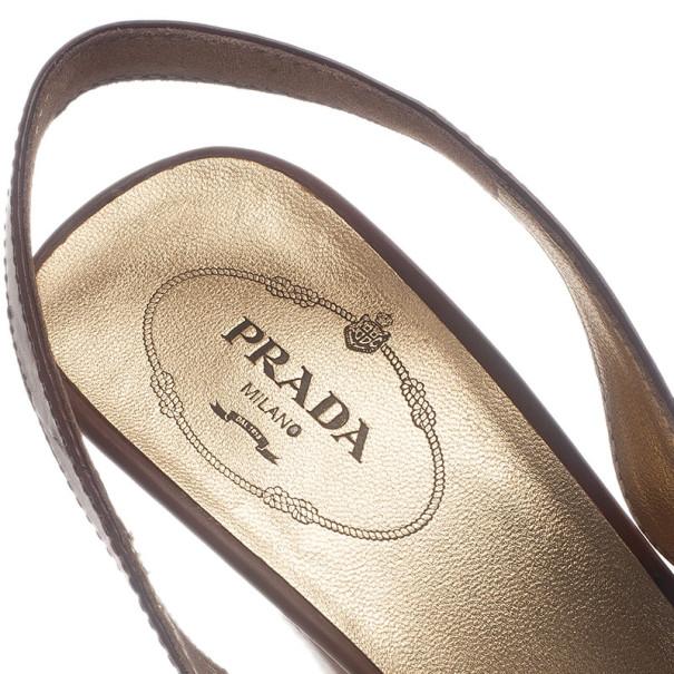 Prada Brown Leather Peep Toe Slingback Sandals Size 40