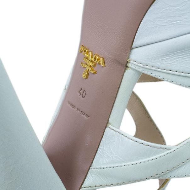 Prada White Leather Strappy Platform Sandals Size 40