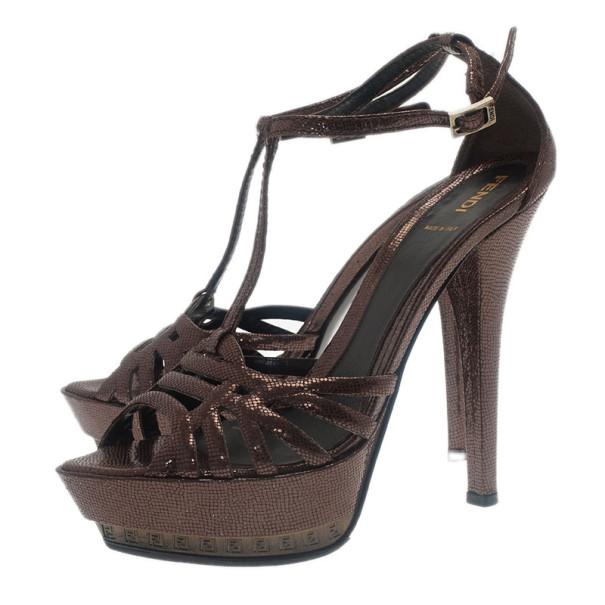Fendi Brown Textured Leather T Strap Platform Sandals Size 40