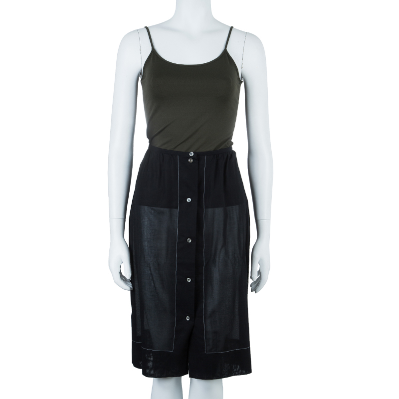 Michael Kors Black Button Front Skirt M