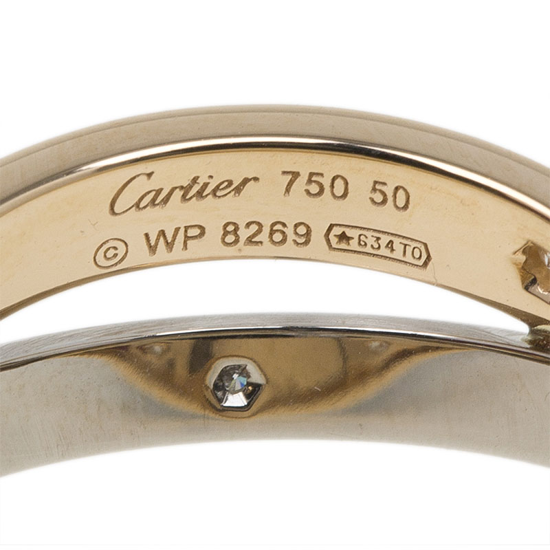 Cartier Love 6 Diamonds Rose and White Double Band Ring Size 50