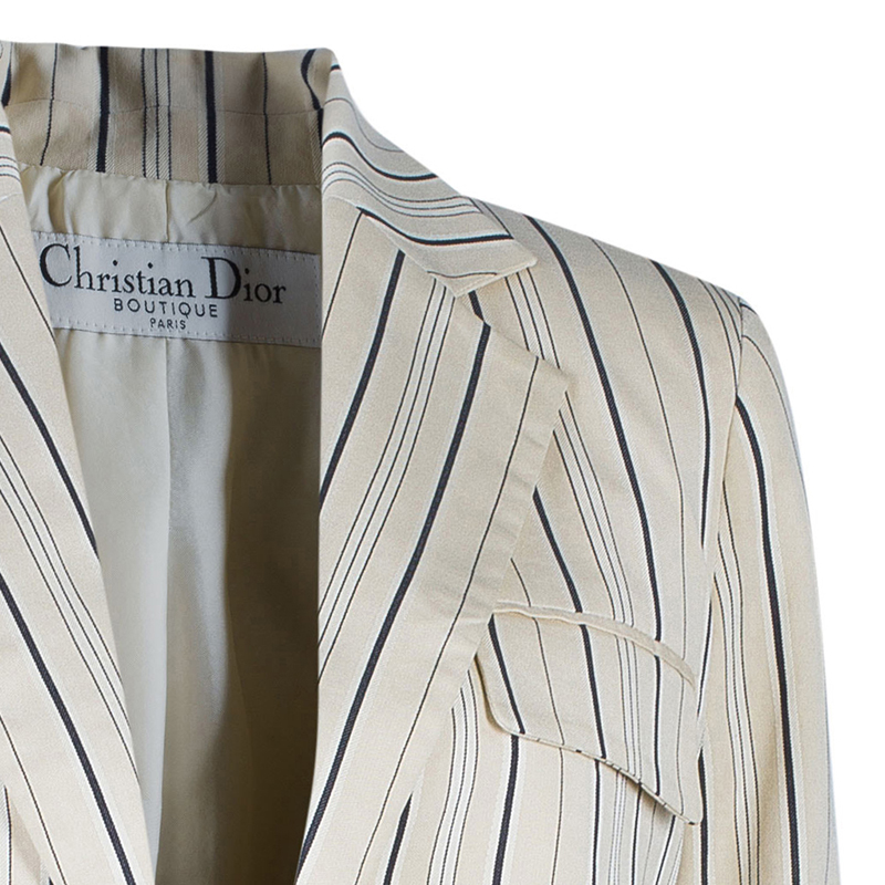 Dior White Silk Cotton Stripe Embroidered Blazer M