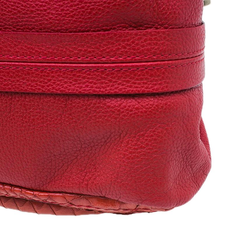 Chloe Red Python Medium Paraty Shoulder Bag
