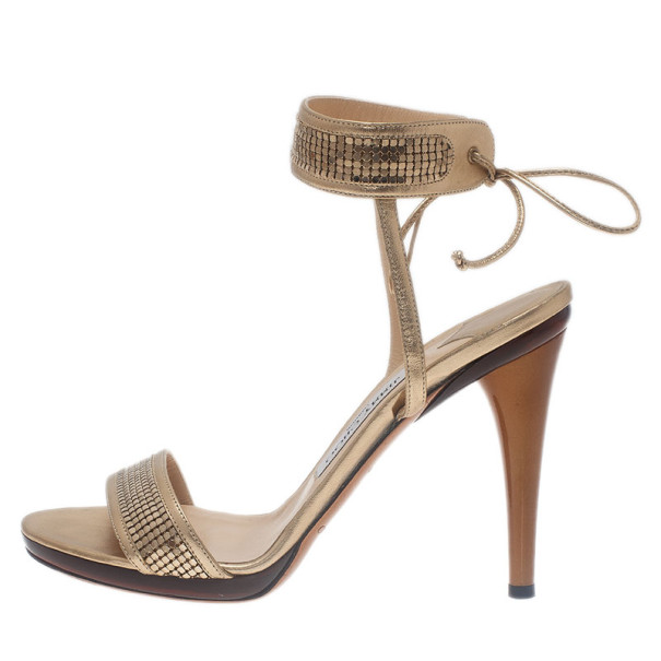 Jimmy Choo Gold Ankle Wrap Sandals Size 40