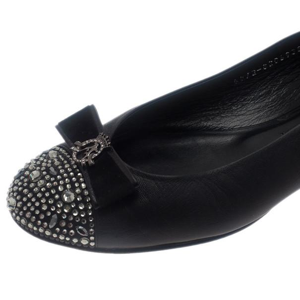 Gina Black Leather Studded Ballet Flats Size 41