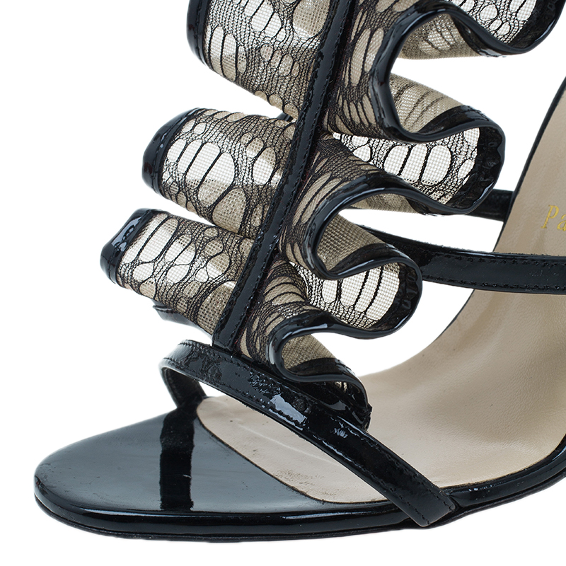 Christian Louboutin Black Leather and Mesh Fortitia Sandals Size 37