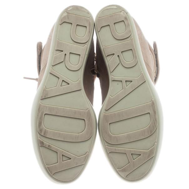 Prada Sport Beige Suede High Top Wedge Sneakers Size 35.5