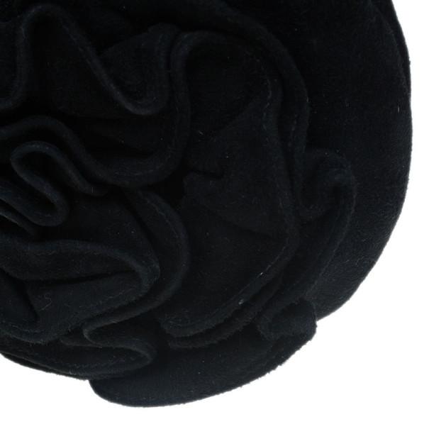Saint Laurent Paris Black Suede Era Nadja Flower Pochette