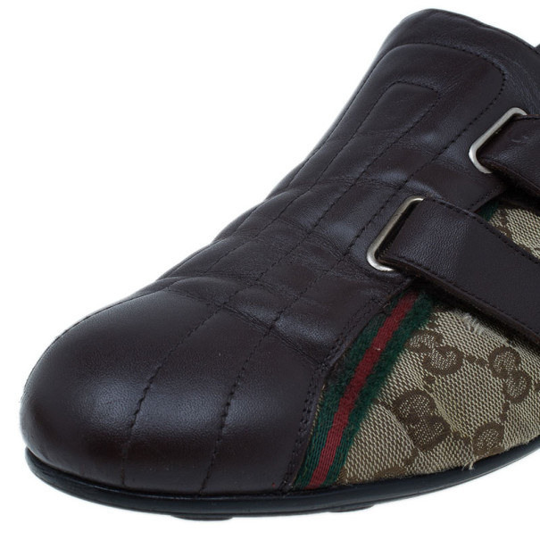 Gucci Guccissima Canvas and Leather Velcro Sneakers Size 43.5