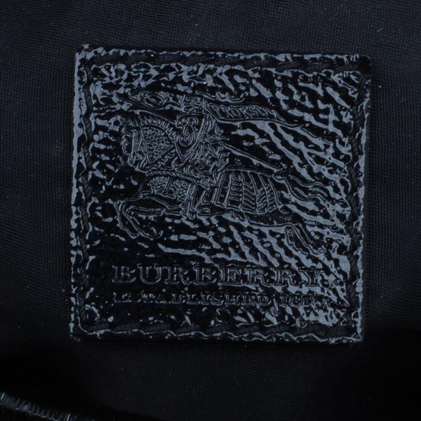 Burberry Black Beat Check Nylon Medium Lowry Tote