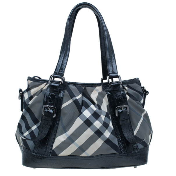 Burberry Black Beat Check Nylon Medium Lowry Tote