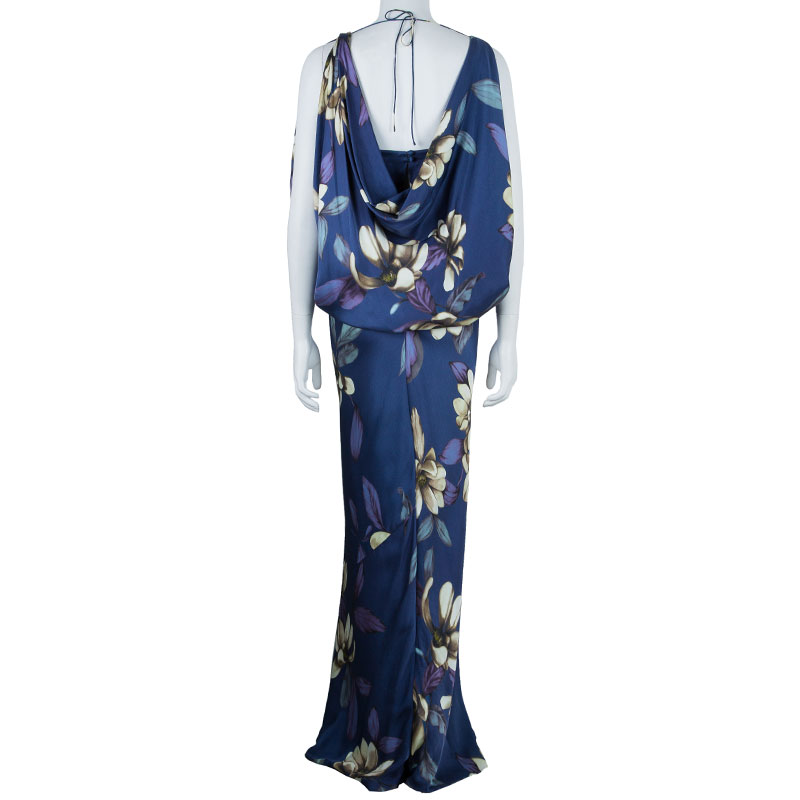 Temperly London Blue Flower Print Maxi Dress M