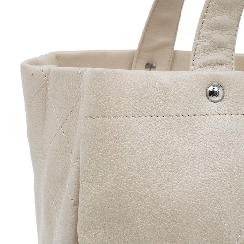 Chanel Beige Caviar Leather CC Shopper Tote
