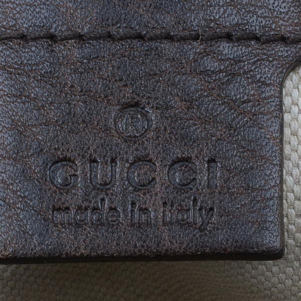 Gucci Brown Leather Medium Catherine Guccissima Dome Satchel
