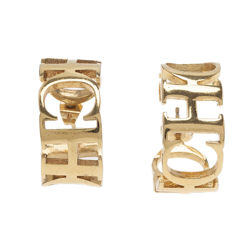 Carolina Herrera CH  Gold Tone hoop Earrings